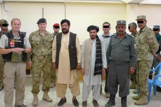 Left to right: POLAD Niels Vistisen, TFH Deputy Commander Colonel Johnny Bowren, District Governor Salim Rodi, Haji Gul's one-eyed clerk, D-COP Ghullie Khan