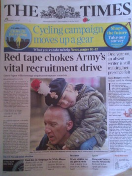 Alfie and I make the front page of The Times today. Apparently Alfie's application for enlistment into the Reserves has been delayed by red tape.