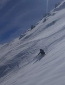Alfie in the steeps on an off-piste line from Saulire in the Trois Vallees ski domain. (2019)